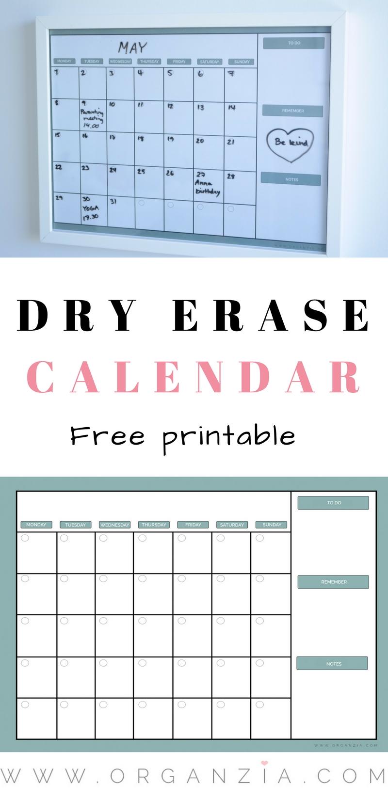 Weekly Calendar Diy : Diy monthly planner dry erase calendar free printable